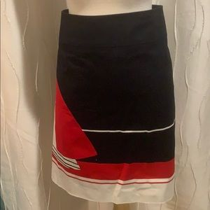 Talbots Navy Skirt with Red and White design